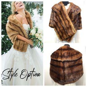 Vintage 1960's Genuine Fur Stole wedding ready S-M